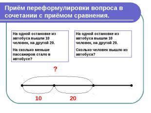 Приём переформулировки вопроса в сочетании с приёмом сравнения.На одной остановк