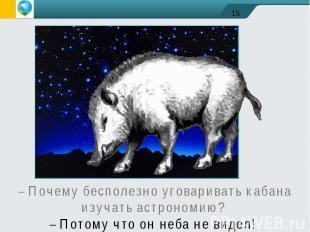 – Почему бесполезно уговаривать кабана изучать астрономию? – Потому что он неба