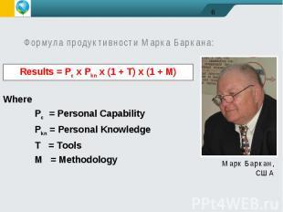 Формула продуктивности Марка Баркана:WherePc = Personal CapabilityPkn = Personal