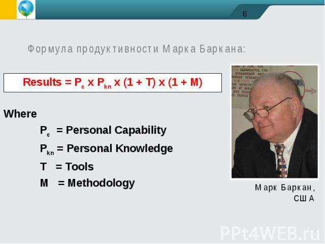 Формула продуктивности Марка Баркана:WherePc = Personal CapabilityPkn = Personal KnowledgeT = ToolsM = Methodology