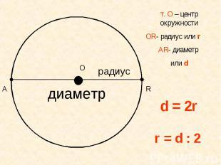 т. О – центр окружностиОR- радиус или rАR- диаметр или d