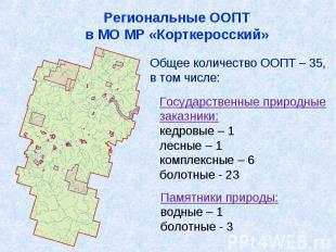 Региональные ООПТв МО МР «Корткеросский»Общее количество ООПТ – 35,в том числе:Г