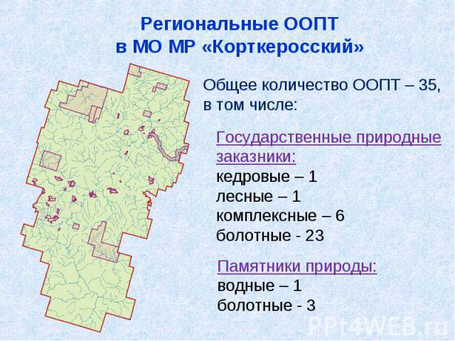 Региональные ООПТв МО МР «Корткеросский»Общее количество ООПТ – 35,в том числе:Государственные природныезаказники:кедровые – 1лесные – 1комплексные – 6болотные - 23Памятники природы:водные – 1болотные - 3