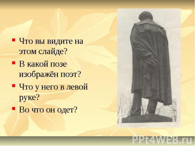 Что вы видите на этом слайде?В какой позе изображён поэт?Что у него в левой руке? Во что он одет?