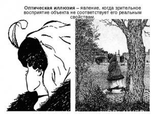 Оптическая иллюзия – явление, когда зрительное восприятие объекта не соответству
