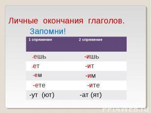 Личные окончания глаголов.
