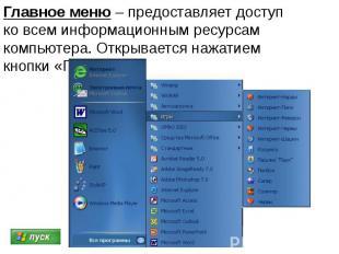 Главное меню – предоставляет доступ ко всем информационным ресурсам компьютера.