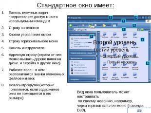 Стандартное окно имеет:Панель типичных задач - предоставляет доступ к часто испо