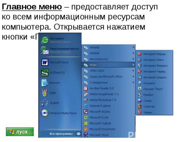 Главное меню – предоставляет доступ ко всем информационным ресурсам компьютера. Открывается нажатием кнопки «Пуск».