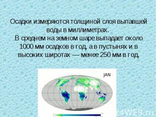 Осадки измеряются толщиной слоя выпавшей воды в миллиметрах. В среднем на земном