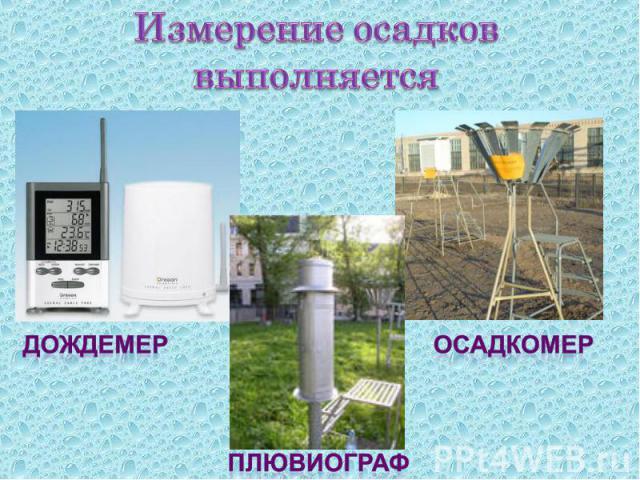 Измерение осадков выполняется дождемерплювиографосадкомер