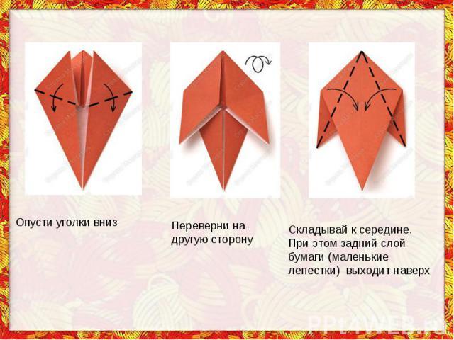Опусти уголки внизПереверни на другую сторонуСкладывай ксередине. При этом задний слой бумаги (маленькие лепестки) выходит наверх