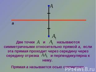 Две точки и называются симметричными относительно прямой а, если эта прямая прох