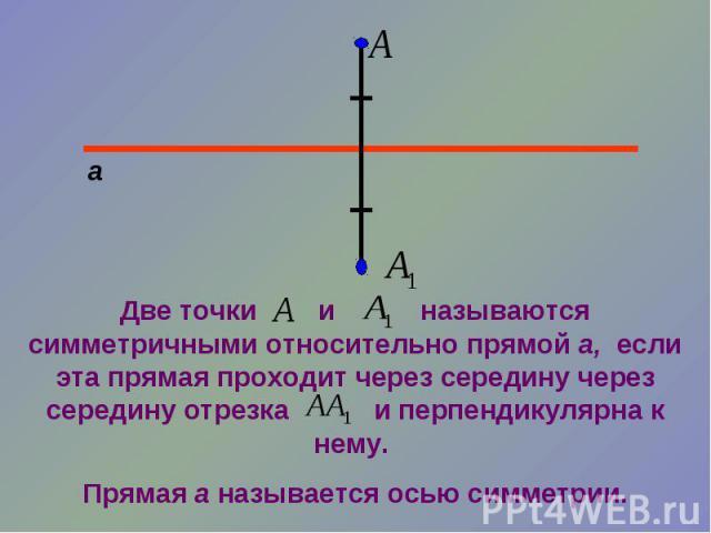 Две точки и называются симметричными относительно прямой а, если эта прямая проходит через середину через середину отрезка и перпендикулярна к нему. Прямая а называется осью симметрии.