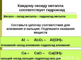 Каждому оксиду металла соответствует гидроксидКаждому оксиду металла соответству