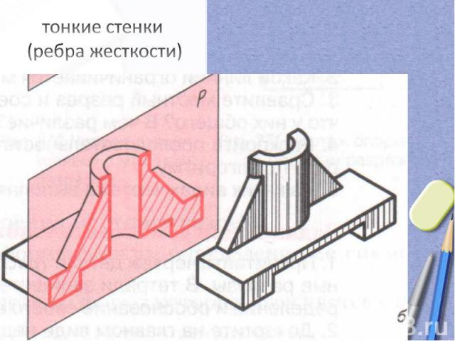 тонкие стенки (ребра жесткости)