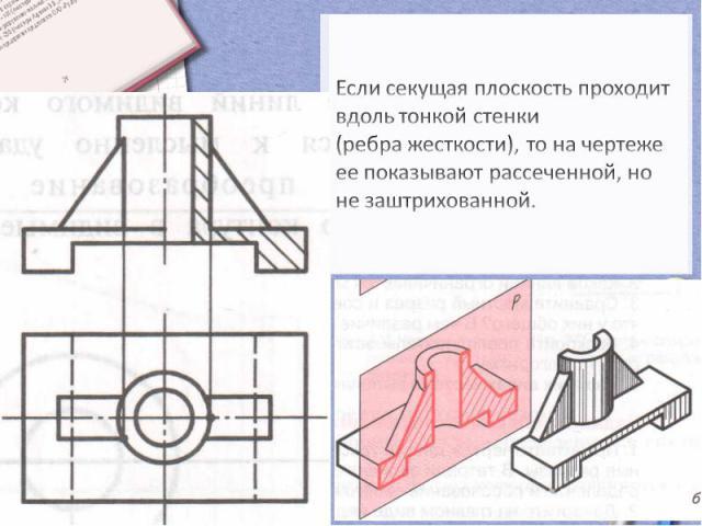 Если секущая плоскость проходит вдоль тонкой стенки (ребра жесткости), то на чертеже ее показывают рассеченной, но не заштрихованной.