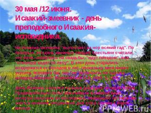 30 мая /12 июня. Исаакий-змеевник - день преподобного Исаакия-исповедника. На Ис