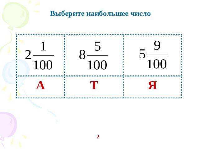Выберите наибольшее число