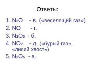 Ответы:N2O - в. («веселящий газ»)NO - г. N2O3 - б.NO2 - д. («бурый газ», «лисий