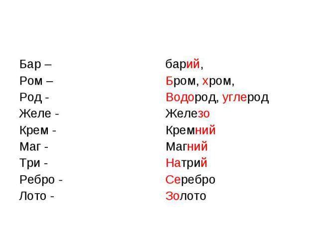 Бар – Ром – Род -Желе -Крем -Маг -Три -Ребро -Лото -барий,Бром, хром,Водород, углеродЖелезоКремнийМагнийНатрийСереброЗолото