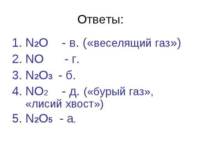 Ответы:N2O - в. («веселящий газ»)NO - г. N2O3 - б.NO2 - д. («бурый газ», «лисий хвост»)N2O5 - а.