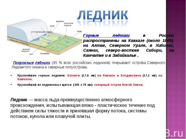 Горные ледники в России распространены на Кавказе (около 1000), на Алтае, Северном Урале, в Хибинах, Саянах, северо-востоке Сибири, на Камчатке и в Забайкалье . Покровные ледники (95 % всех российских ледников) покрывают острова Северного Ледовитого…
