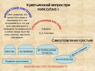 Крестьянский вопрос при НИКОЛАЕ I«Нет сомнения, что крепостное право в нынешнем