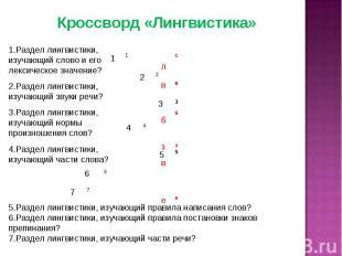 Кроссворд «Лингвистика» 1.Раздел лингвистики, изучающий слово и его лексическое