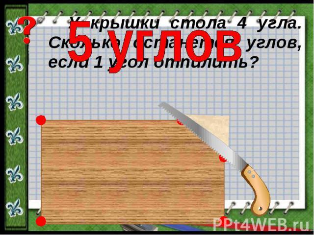 5 угловУ крышки стола 4 угла. Сколько останется углов, если 1 угол отпилить?