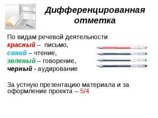 Дифференцированная отметка По видам речевой деятельности красный – письмо, синий