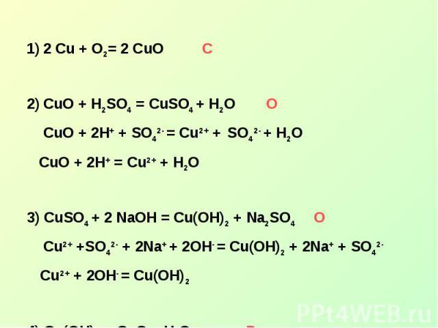 2 Cu + O2= 2 CuOСCuO + H2SO4 = CuSO4 + H2O О CuO + 2H+ + SO42- = Cu2+ + SO42- + H2O CuO + 2H+ = Cu2+ + H2O3) CuSO4 + 2 NaOH = Cu(OH)2 + Na2SO4 О Cu2+ +SO42- + 2Na+ + 2OH- = Cu(OH)2 + 2Na+ + SO42- Cu2+ + 2OH- = Cu(OH)24) Cu(OH)2 = CuO + H2O Р