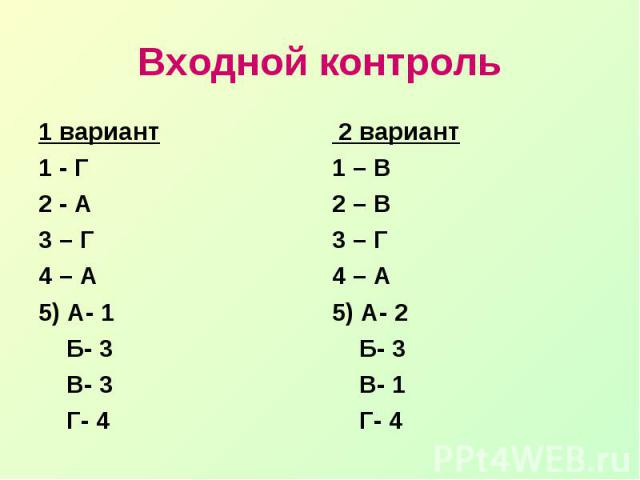 Входной контроль1 вариант1 - Г2 - А3 – Г4 – А5) А- 1 Б- 3 В- 3 Г- 4 2 вариант1 – В2 – В3 – Г4 – А5) А- 2 Б- 3 В- 1 Г- 4