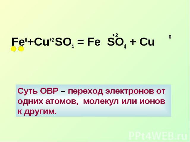 Fe0+Cu+2 SO4 = Fe SO4 + СuСуть ОВР – переход электронов от одних атомов, молекул или ионов к другим.