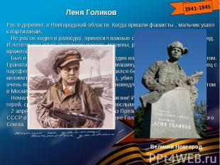 Леня ГоликовРос в деревне, в Новгородской области. Когда пришли фашисты , мальчи