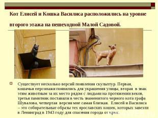 Кот Елисей и Кошка Василиса расположились на уровне второго этажа на пешеходной