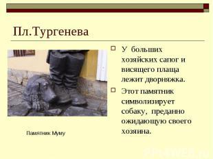 Пл.ТургеневаУ больших хозяйских сапог и висящего плаща лежит дворняжка. Этот пам