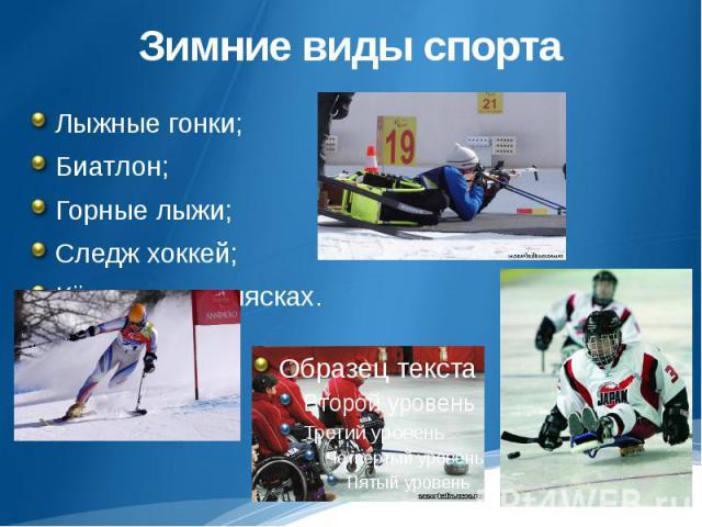 Зимние виды спортаЛыжные гонки; Биатлон;Горные лыжи;Следж хоккей;Кёрлинг на колясках.