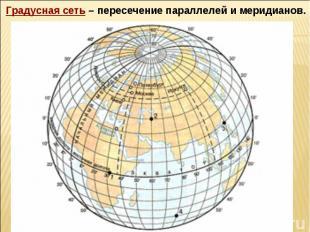 Градусная сеть – пересечение параллелей и меридианов.