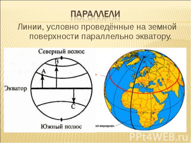 параллелиЛинии, условно проведённые на земной поверхности параллельно экватору.