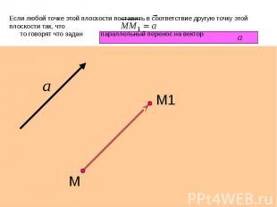 Если любой точке этой плоскости поставить в соответствие другую точку этой плоск
