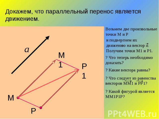 Докажем, что параллельный перенос является движением.