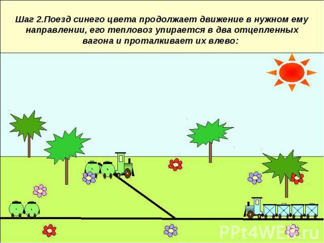 Шаг 2.Поезд синего цвета продолжает движение в нужном ему направлении, его тепловоз упирается в два отцепленных вагона и проталкивает их влево:
