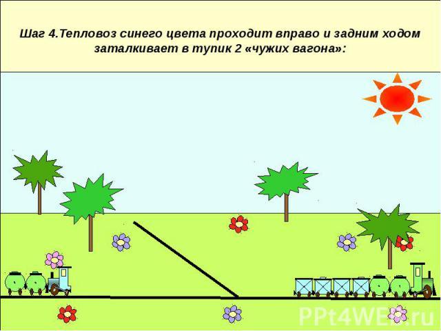 Шаг 4.Тепловоз синего цвета проходит вправо и задним ходом заталкивает в тупик 2 «чужих вагона»:
