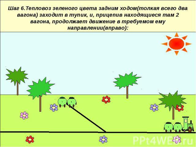 Шаг 6.Тепловоз зеленого цвета задним ходом(толкая всего два вагона) заходит в тупик, и, прицепив находящиеся там 2 вагона, продолжает движение в требуемом ему направлении(вправо):