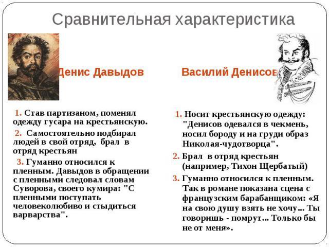 Сравнительная характеристика 1. Став партизаном, поменял одежду гусара на крестьянскую. 2. Самостоятельно подбирал людей в свой отряд, брал в отряд крестьян 3. Гуманно относился к пленным. Давыдов в обращении с пленными следовал словам Суворова, сво…