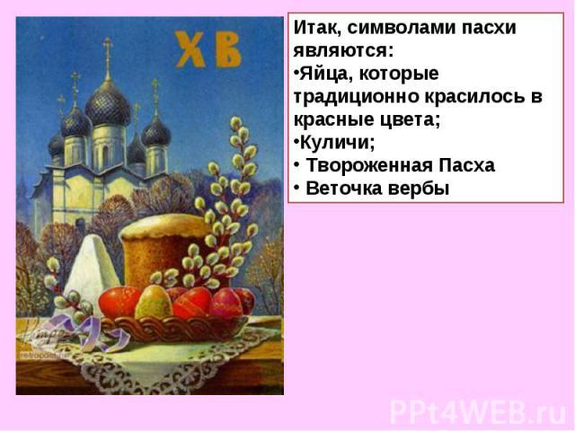 Итак, символами пасхи являются:Яйца, которые традиционно красилось в красные цвета;Куличи; Твороженная Пасха Веточка вербы