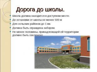 Дорога до школы.Школа должна находится в доступном месте.До остановки от школы н