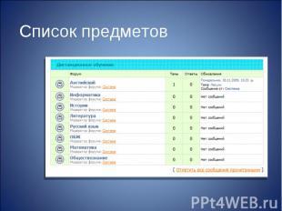 Список предметов