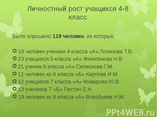 Личностный рост учащихся 4-8 классБыло опрошено 118 человек, из которых:19 челов
